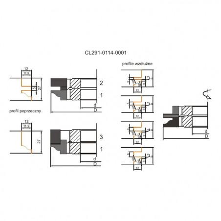 114x40x22-27z4 Frēzgalva mēbeļu durtiņām Globus CL291 1. profils